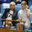 """""""Brigitte Macron assiste au discours de son mari , le président de la république, devant la 72ème assemblée générale de l'organisation des Nations Unies à New York le 19 septembre 2017."""""""