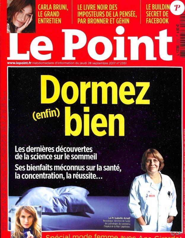 """Carla Bruni en couverture du """"Point"""" en kiosques le 28 septembre 2017."""
