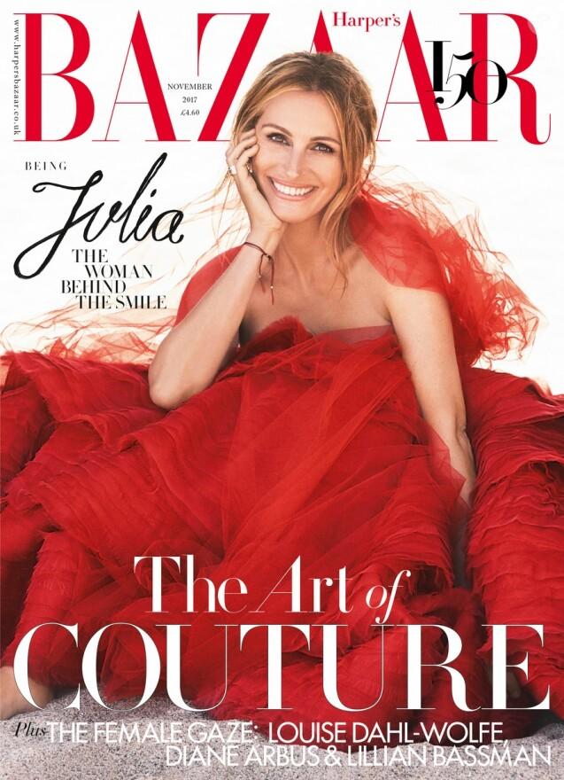 """Couverture de l'édition anglaise du magazine """"Harper's Bazaar"""". Novembre 2017."""
