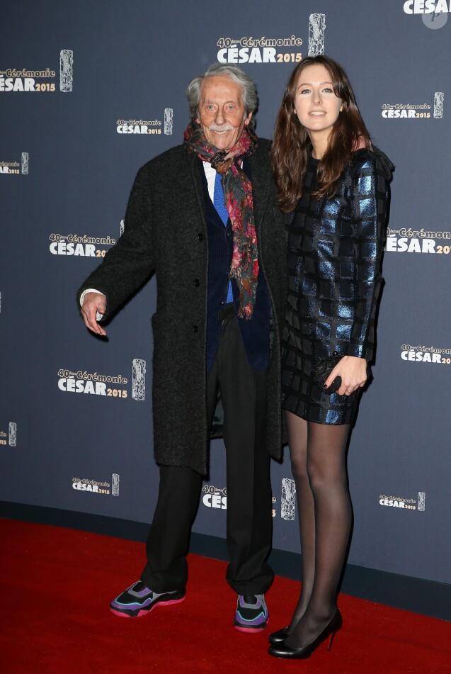 Jean Rochefort et sa fille Clémence - Photocall de la 40e cérémonie des César au théâtre du Châtelet à Paris. Le 20 février 2015.