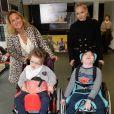 Exclusif - La comédienne Franco Américaine Béatrice Rosen et Natacha Dassault (femme du député Olivier Dassault) avec Maureen et Noam - L'Institut médico-éducatif de Kerdreineg, à Crédin, près de Pontivy, a fêté en grande pompe la fin de trois années de travaux. La fondation Claude-Pompidou, propriétaire des lieux, a investi 2,7 millions d'euros pour rénover et agrandir cet IME qui accueille 42 enfants et jeunes polyhandicapés à Crédin le 5 octobre 2017. © Rachid Bellak / LMS / Bestimage