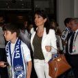 Véronique Zidane (la femme de Zinedine Zidane) se rend au Meazza Stadium avec son fils Elyaz pour assister à la finale de la ligue des champions remportée par Le Real Madrid à Milan, le 28 mai 2016.