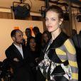 """Natalia Vodianova arrive au vernissage de l'exposition """"Volez, Voguez, Voyagez"""" de Louis Vuitton à l'American Stock Exchange. New York, le 26 octobre 2017."""