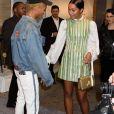 """Jaden Smith et Laura Harrier arrivent au vernissage de l'exposition """"Volez, Voguez, Voyagez"""" de Louis Vuitton à l'American Stock Exchange. New York, le 26 octobre 2017."""