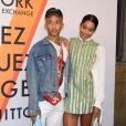 """Jaden Smith et Laura Harrier assistent au vernissage de l'exposition """"Volez, Voguez, Voyagez"""" de Louis Vuitton à l'American Stock Exchange. New York, le 26 octobre 2017."""