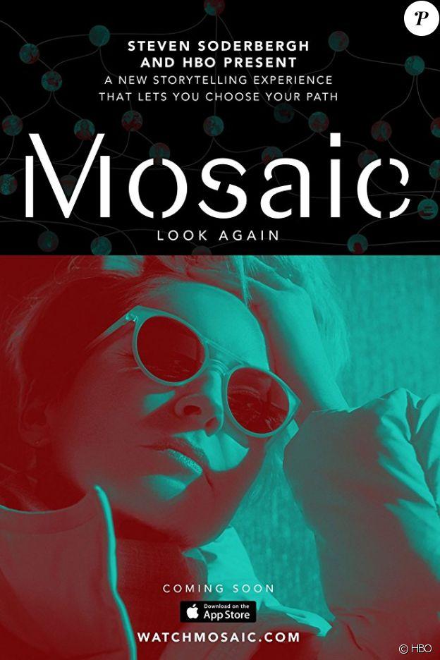 Sharon Stone sur l'affiche de la série interactive Mosaic, signée Steven Soderbergh pour HBO, diffusion en 2018.