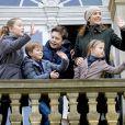 """La princesse Mary de Danemark assistait le 5 novembre 2017 au palais de l'Hermitage, au nord de Copenhague, à la course de chevaux """"Hubertus Jagt"""" avec ses quatre enfants, Christian, Isabella, Vincent et Josephine."""