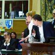 Le président de Christie's François de Ricqlès (commissaire-priseur), Charles Aznavour, Marc-Olivier Fogiel et Julie Depardieu- 157ème vente aux enchères des vins des Hospices de Beaune à Beaune le 19 novembre 2017. © Giancarlo Gorassini/Bestimage