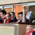Le prince Albert II de Monaco et ses neveux Pierre Casiraghi et Louis Ducruet au Stade Louis-II le 21 novembre 2017 lors de la défaite de l'AS Monaco contre le RB Leipzig en Ligue des Champions. © Bruno Bebert/Bestimage