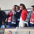 Semi-exclusif - Le prince Albert II de Monaco, Pierre Casiraghi et Louis Ducruet lors du match ASM - Besiktas au stade Louis II à Monaco le 17 octobre 2017.