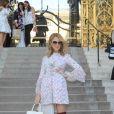 """Céline Dion à la sortie du défilé de mode Haute-Couture """"Giambattista Valli"""" collection Automne-Hiver 2017/2018 au Petit Palais à Paris, France, le 3 juillet 2017."""