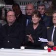Julie Gayet, François Hollande, Carla Buni, Nicolas Sarkozy aux obsèques de Johnny Hallyday à Paris. Le 9 décembre 2017.
