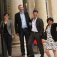 French Europe Ecologie-Les Verts green party members Sandrine Rousseau, Michele Rivasi, David Cormand and Pascal Durand arriving at the Elysee Palace in Paris, France, on June 25, 2016, ahead of a meeting with French President and French leaders of political parties and movements after Britain voted to leave the European Union the day before. Photo by Somer/ABACAPRESS.COM26/06/2016 - Paris