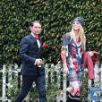 Exclusif - Matt Bellamy et Elle Evans dans les rues de Brentwood, le 31 octobre 2017, pour Halloween.