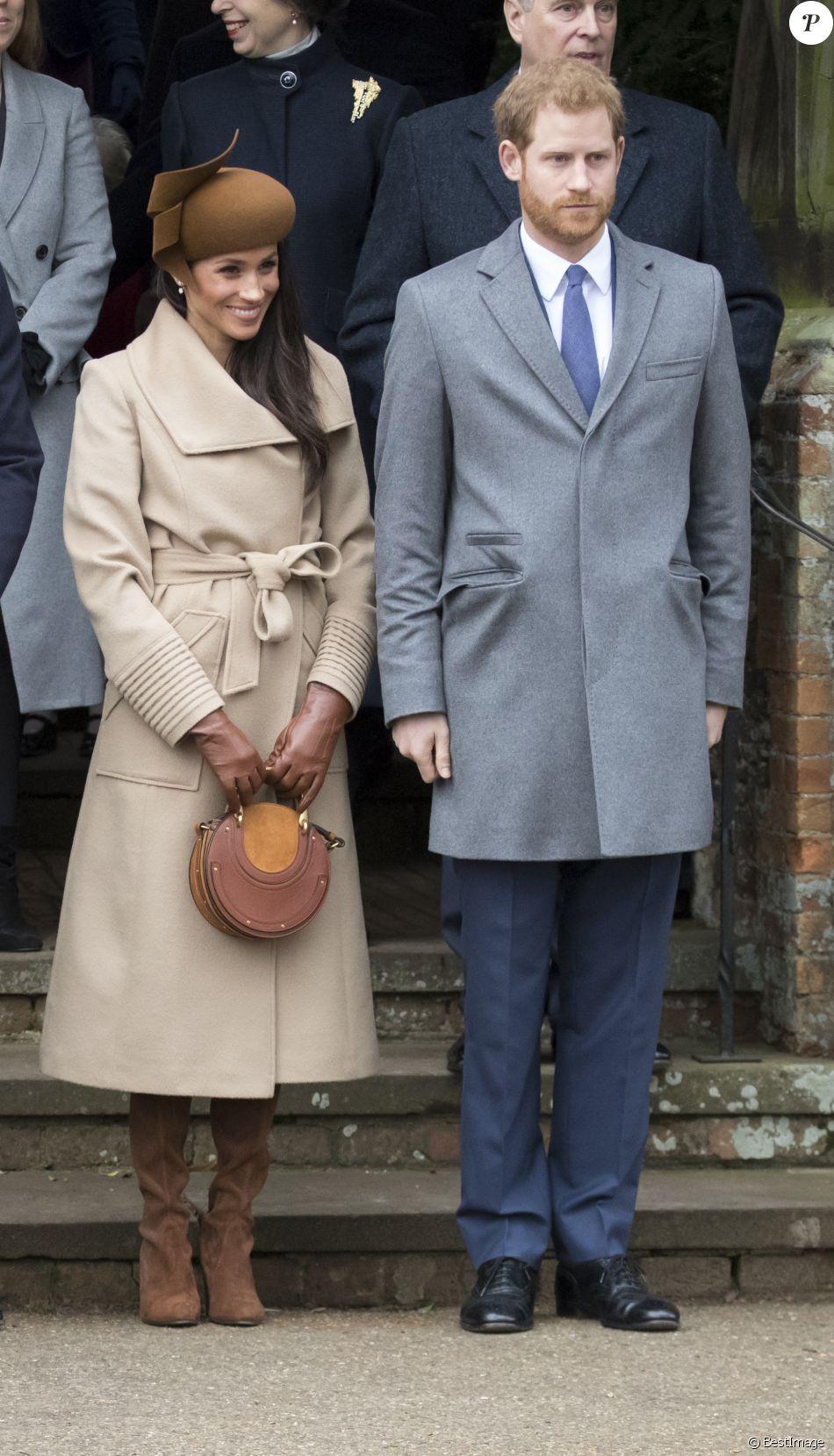 Meghan Markle avec le prince Harry et la famille royale britannique le 25 décembre 2017 lors de la messe de Noël à Sandringham dans le Norfolk.