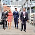 """Exclusif - No Web No Blog - Pierre-Olivier Costa (Directeur de cabinet), Tristan Bromet (chef de cabinet), José Pietroboni (chef du protocole), la première dame Brigitte Macron (Trogneux) - Brigitte Macron et les conjoints des participants du sommet du G20 font une croisière à bord du bateau """"Diplomat"""" et posent dans l'hôtel Atlantic à Hamburg, Allemagne, le 7 juillet 2017. © Sébastien Valiela/Bestimage"""