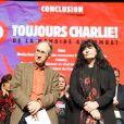 """Gérard Biard (rédacteur en Chef de Charlie Hebdo), Marika Bret (Directrice des ressources humaines de Charlie Hebdo) - Hommage """" Etre Toujours Charlie ! De la Mémoire au Combat"""" aux Folies Bergère à Paris le 6 janvier 2018 pour l'anniversaire des 3 ans de l'attaque terroriste contre l'hebdomadaire satyrique Charlie Hebdo en 2015. © Coadic Guirec/Bestimage"""
