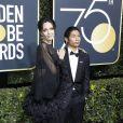 Angelina Jolie et son fils Pax sur le tapis rouge de la 75ème cérémonie des Golden Globe Awards au Beverly Hilton à Los Angeles, le 7 janvier 2018.