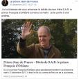 Le prince Jean d'Orléans a annoncé sur Facebook la mort de son frère le prince François, qui était atteint d'un handicap mental, survenue dans la nuit du 30 au 31 décembre 2017 à l'âge de 56 ans.