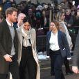 Le prince Harry et sa fiancée Meghan Markle quittent la station de radio Reprezent à Londres le 9 janvier 2018.