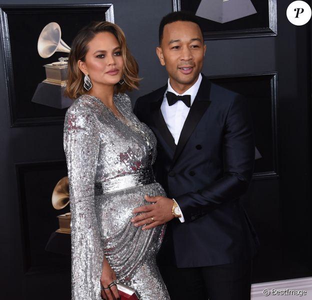 Chrissy Teigen enceinte et son mari John Legend - 60ème soirée annuelle des Grammy Awards au Madison Square Garden à New York, le 28 janvier 2018 © Chris Delmas/Bestimage