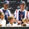 Semi-exclusif - Louis de Bourbon, duc d'Anjou, avec ses enfants Eugénie, Louis et Alphonse le 13 août 2016 lors d'un match de polo à Cadix, en Espagne.