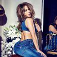 Jennifer Lopez en shooting pour la campagne publicitaire printemps 2018 de GUESS et Marciano. Janvier 2018.