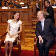 Rania de Jordanie au Parlement portugais avec Jorge Sampaio