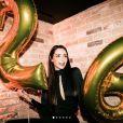 Nabilla, très sexy, fête son 26e anniversaire avec ses proches à Londres, dans la nuit du 4 au 5 février 2018.