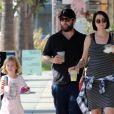Jack Osbourne est allé déjeuner avec sa femme Lisa Stelly et sa fille Pearl au restaurant Joan à Studio City, le 13 octobre 2017