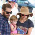 Jack Osbourne passe la journée avec sa femme Lisa Stelly et ses filles Pearl Clementine et Andy Rose au Farmer's Market à Studio City, le 4 septembre 2016