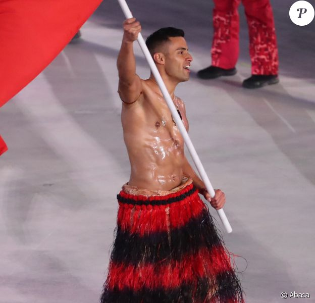 La délégation du Tonga - Cérémonie d'ouverture des Jeux Olympiques d'hiver à Pyeongchang en Corée du sud le 9 février 2018.