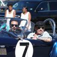 """Johnny Hallyday accompagné de Maxim Nucci (Yodelice), arrive au restaurant """"Soho House"""" à Malibu, le 09 mars 2017."""