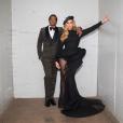 Jay-Z et Beyoncé (en robe AzziAndOsta et chaussures Jimmy Choo) le 27 janvier 2018 à Los Angeles pour la soirée pré-Grammy Awards organisée par la  Clive J. Davis Foundation et la Recording Academy.