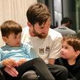 Lionel Messi avec ses fils Thiago et Mateo, photo Instagram 9 février 2018