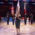 Fergie chantant l'hymne national américain lors du NBA All-Star Game le 18 février 2018