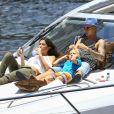 Exclusif - Justin Bieber passe la journée sur son yacht avec son petit frère Jaxon et Alexandra Rodriguez à Miami. Le 5 juillet 2016