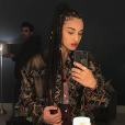 Camélia Jordana en loges avant son passage dans l'émission Quotidien. Février 2018.