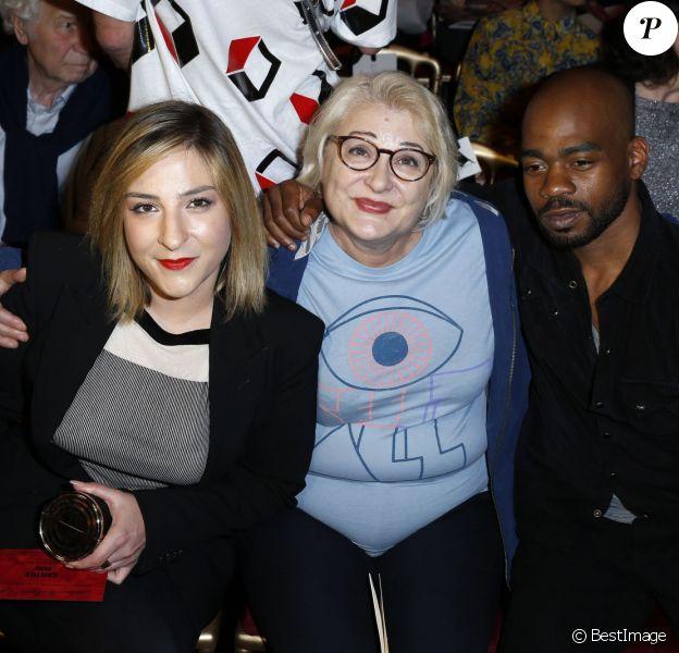 Marilou Berry et sa mere Josiane Balasko, Rudy Berry - People au defilé Jean-Paul Gaultier lors de la fashion week Haute-Couture Automne-Hiver 2013/2014. A Paris le 3 juillet 2013.