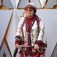 Agnes Vardasur le tapis rouge des Oscars au Dolby Theatre, Los Angeles, le 4 mars 2018.