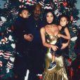 Kanye West, Kim Kardashian et leurs enfants North et Saint West. Noël 2016.