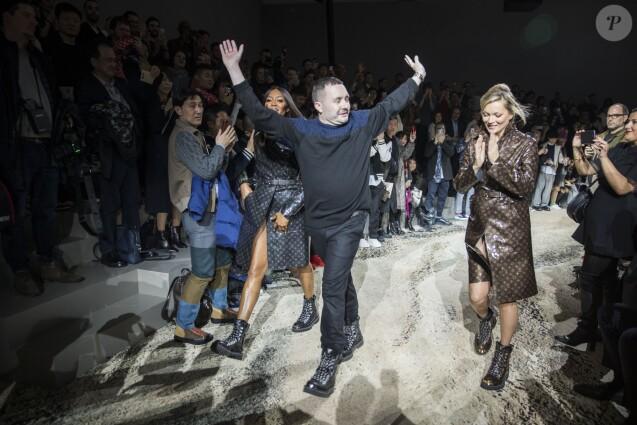 Kim Jones, Naomi Campbell et Kate Moss - Défilé de mode «Louis Vuitton» Automne-Hiver 2018 au Palais Royal à Paris. Le 18 janvier 2018 © Olivier Borde / Bestimage