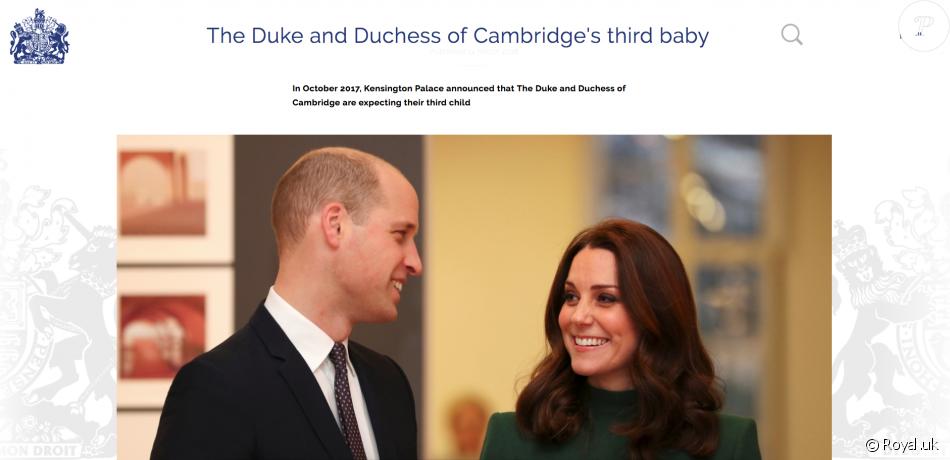 Une page dédiée a été créée en mars 2018 sur le site de la monarchie britannique à l'approche de la naissance du troisième enfant du prince William et de la duchesse de Cambridge.