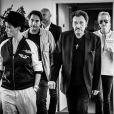 Exclusif - Johnny Hallyday sa femme Laeticia et Sébastien Farran dans les locaux de TF1 pour l'enregistrement du JT le 4 juin 2017. © Andred / Bestimage