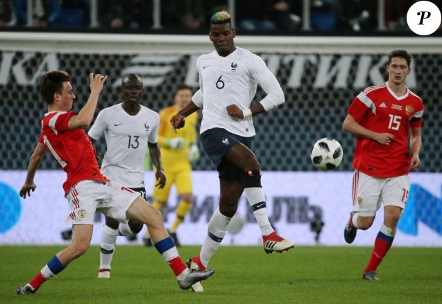 N'Golo Kanté et Paul Pogba - Match amical international de football, France contre Russie à Saint-Pétersbourg, Russie, le 27 mars 2018.