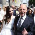 Pierre Moscovici et Anne-Michelle Bastéri lors de leur mariage à la mairie du VIème arrondissement à Paris. Le 13 juin 2015