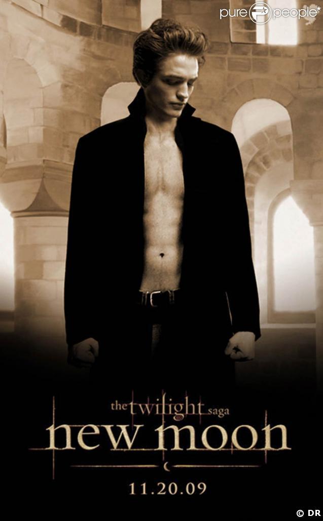 """L'affiche de """"Twilight - Chapitre 2 : Tentation"""", avec Robert Pattinson."""