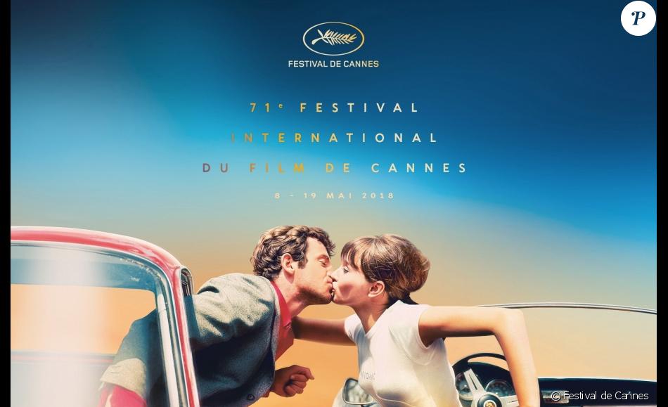 Affiche officielle du Festival de Cannes 2018 avec Jean-Paul Belmondo et Anna Karina dans Pierrot le fou.