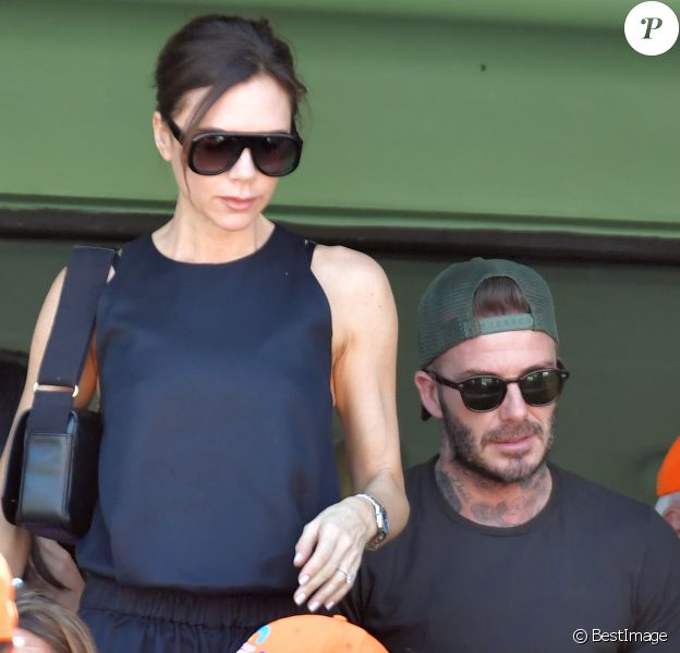 David Beckham, Victoria Beckham - La famille Beckham assiste à la finale homme de l'Open de tennis de Miami le 1er avril 2018.