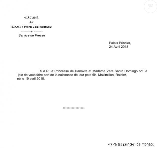 Communiqué de presse du palais princier de Monaco annonçant la naissance de Maximilian Rainier Casiraghi, troisième enfant d'Andrea Casiraghi et de Tatiana Santo Domingo, cinquième petit-enfant de la princesse Caroline de Hanovre.